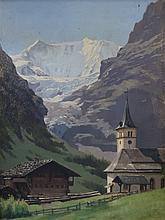 JÉQUIER Jules, 1834-1898 [CH]. - L'église réformée de Grindelwald,