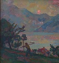 HERMANJAT Abraham Jacques Élie, 1862-1932 [CH]. - Lever du soleil sur le Grammont,