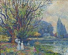 """NEUQUELMAN (NEUQUELMANN) Lucien, 1909-1988 [FR]. - """"Plaisirs du lac de Longchamps"""","""