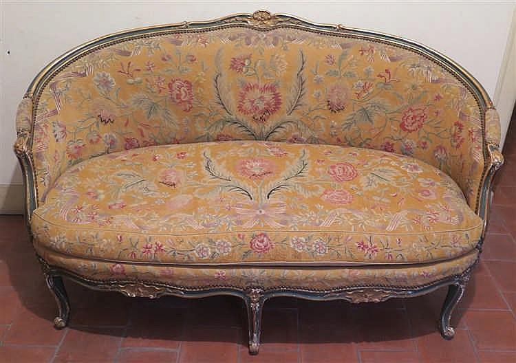 canap corbeille style louis xv xixe xxe s. Black Bedroom Furniture Sets. Home Design Ideas