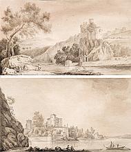 BÉLANGER (BELLANGÉ) Louis,  1736-1816 [FR]. Ensemble de deux dessins d'après nature représentant des vues sur le château de Pierre Scize (Lyon), c. 1780,