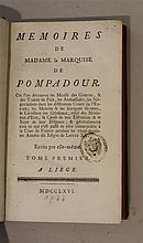 Madame la Marquise de POMPADOUR.  Mémoires de Madame la Marquise de Pompadour, tome premier et second, 1766.