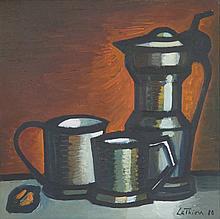 LATHION Luc, 1931-2013 [CH]. - Nature morte aux pots, (19)80,