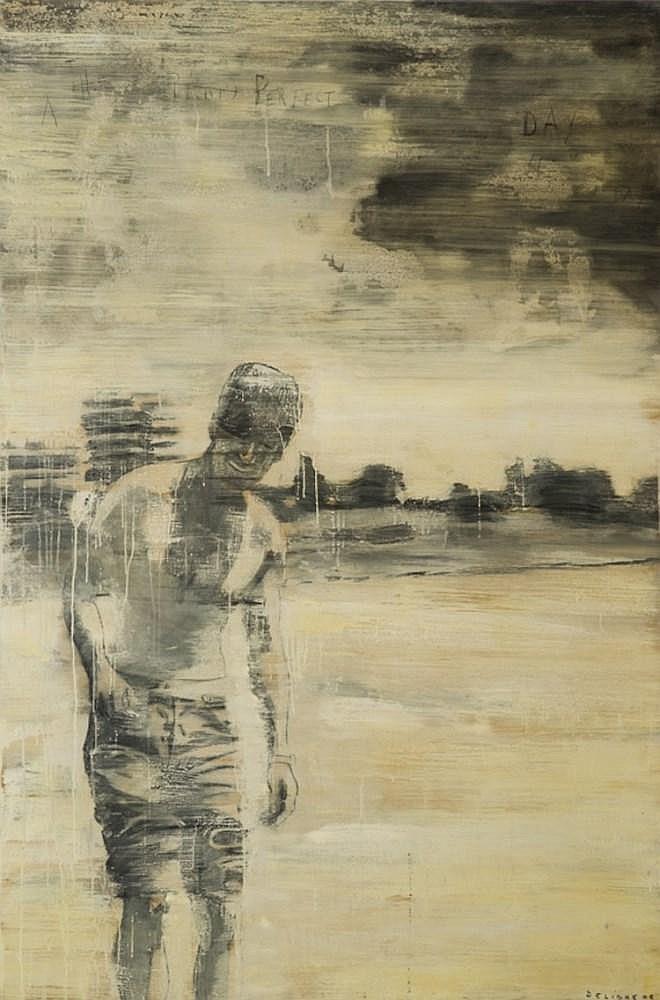 DELIGNE Julien, *1959 [FR-CH]. - Silhouette masculine dans un paysage, (20)06,