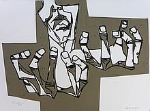 GUAYASAMIN Oswaldo,  etching signed and numbered, Las manos de la ira, 1973