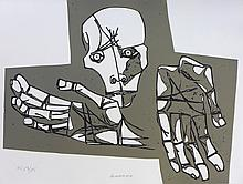 GUAYASAMIN Oswaldo,  etching signed and numbered, Las manos desoladas, 1973