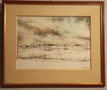 MAGOSSE P. Paysage hivernal. Pastel signé.