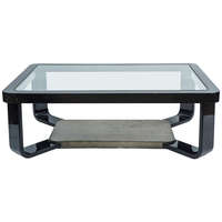 Glamorous Black Lacquered Coffee Table, Style of Springer