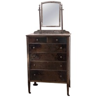 Industrial Steel Dresser with Mirror