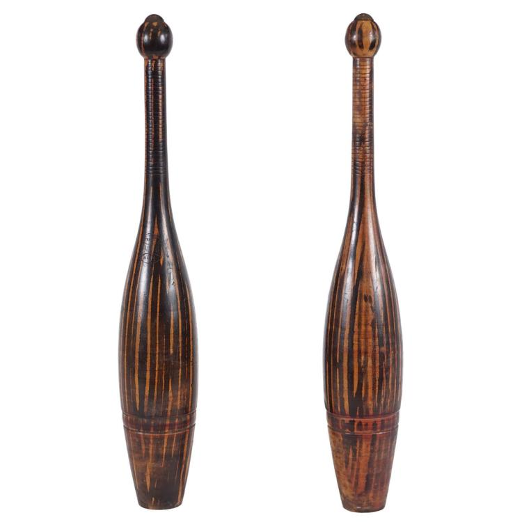 Pair of Tall Antique Bowling Pins by Spalding