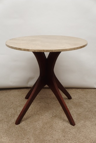 Style of Kagan Kitchen Table with Travertine Top