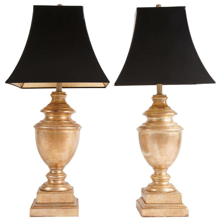 Two Gilded Baker, Knapp & Tubbs Table Lamps, C. 1960's