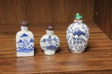 Lot of 3 Chinese Antique Porcelain Snuff bottles