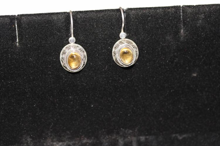 A Pair of Amber? and Sterling Earrings