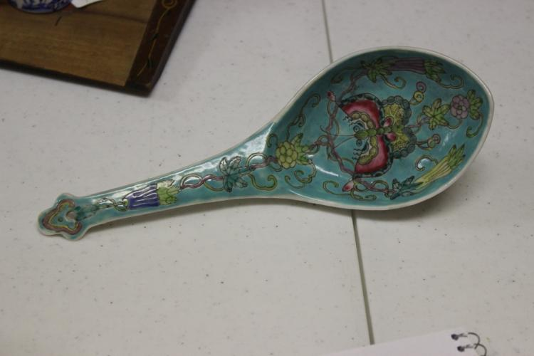 A Chinese Famille Verte Large Spoon
