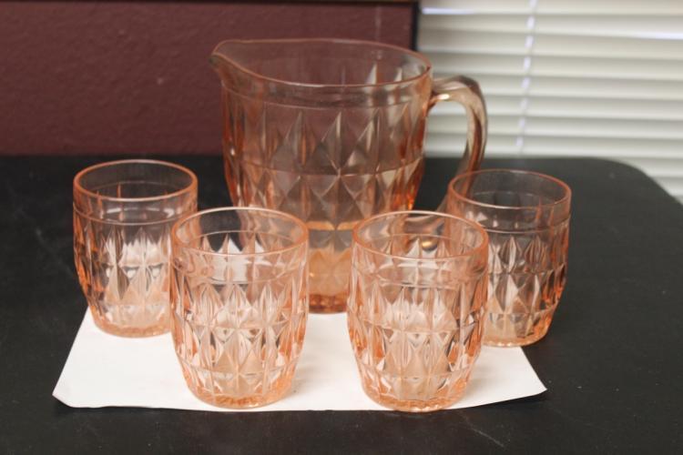 A Pink Depression Glass Pitcher - Jeannett Pattern