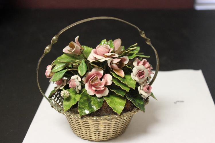 A Metal Floral Basket
