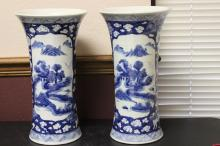 A Pair of Chinese Blue and White Trumpet Shape Vases