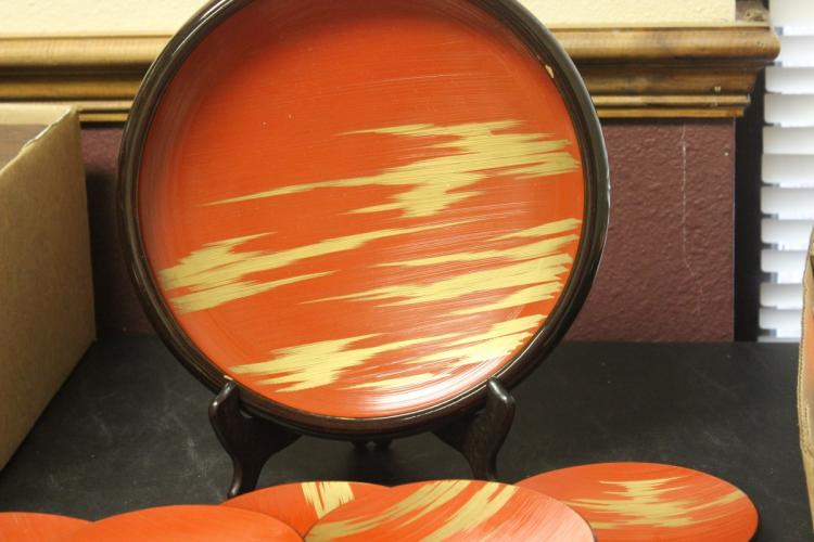 Lot of 7 Japanese Lacquer Tray