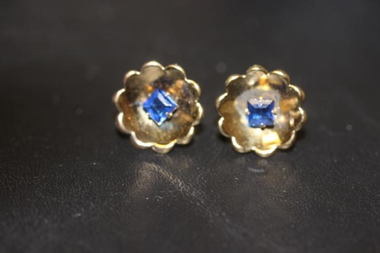 A Pair of Sterling and Bluse Stone Earrings