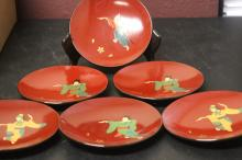Lot of 6 Japanese Lacquer Ttrays