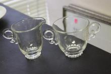 Marked Heisey Glass Sugar and Creamer Lariat