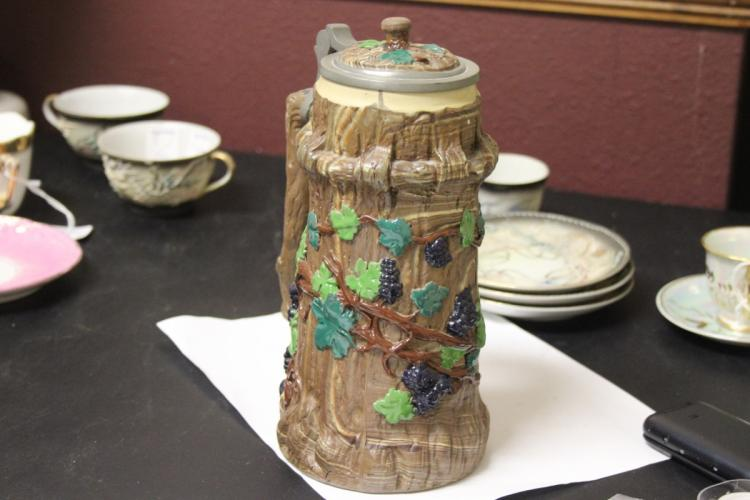 A Very Rare Villeroy and Boch Tree Trunk Mettlach Beer Stein