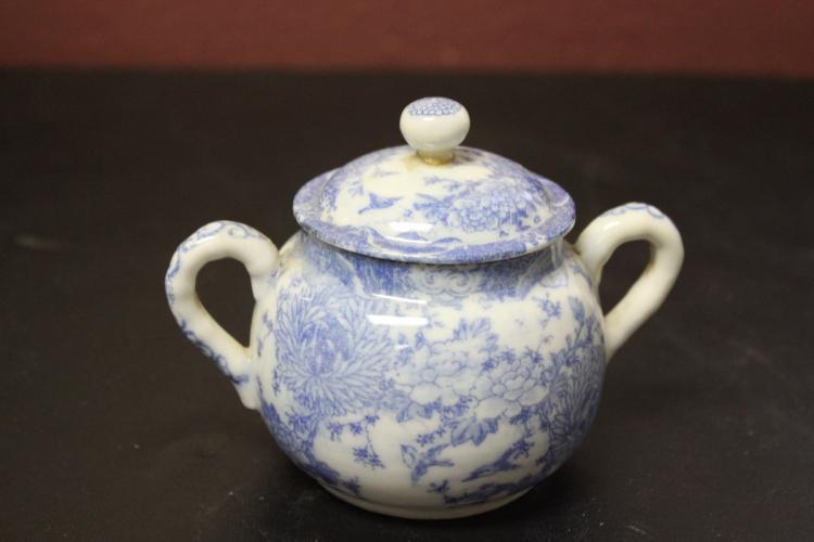 An Antique Japanese Blue and White Sugar Container