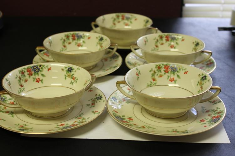 Lot of 5 Sets of Selb Bavaria Heinrich and Company Soup Bowl and Undertray
