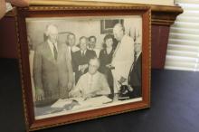 A Printed Photograph of Roosevelt Declaring War
