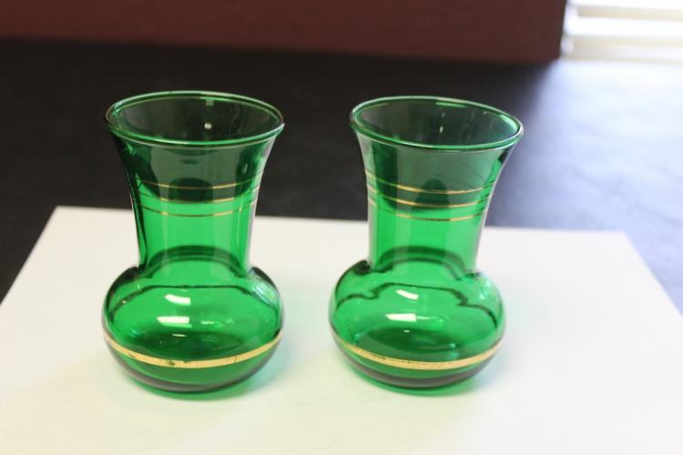A Pair of Green Glass Small Vases