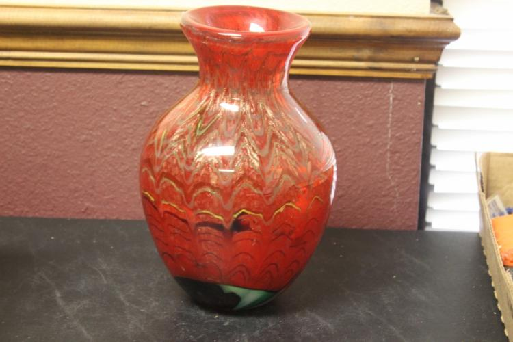 A Red Art Glass Vase