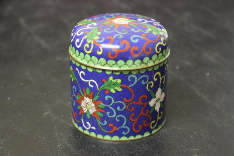 An Antique Chinese Cloisonne Box with Lid