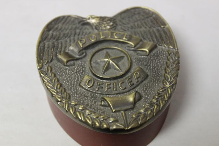 A Police Officer Brass and Wood Box