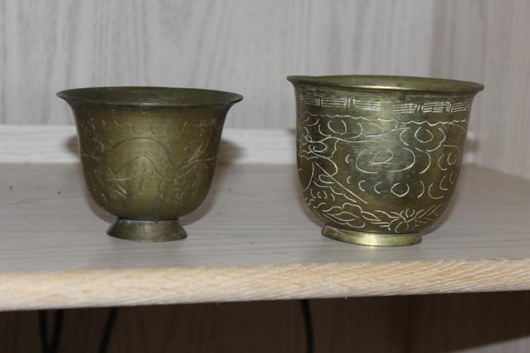 Set of 2 Antique Chinese Dragon Brass Cups