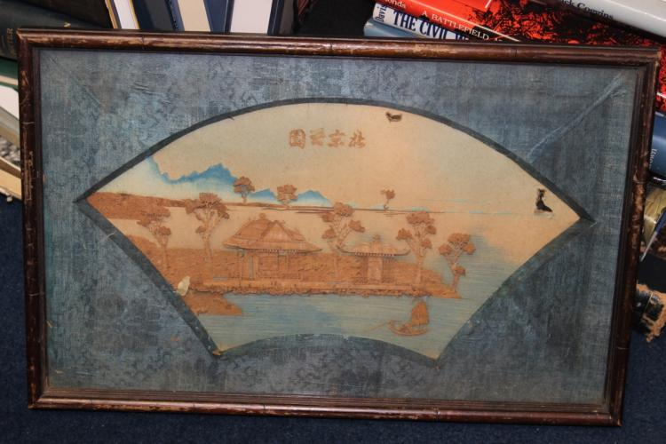 An Antique Frame Chinese Cork Painting
