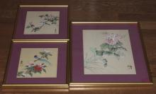 Lot of Three Chinese Pastel Paintings on Silk