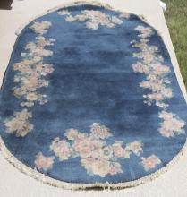 Antique Chinese Oval Art Deco Blue Rug