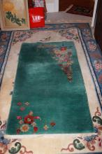 Antique chinese Art Deco Rug Scatter Green
