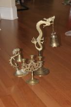 Lot of Three Chinese Brass Candle Sticks