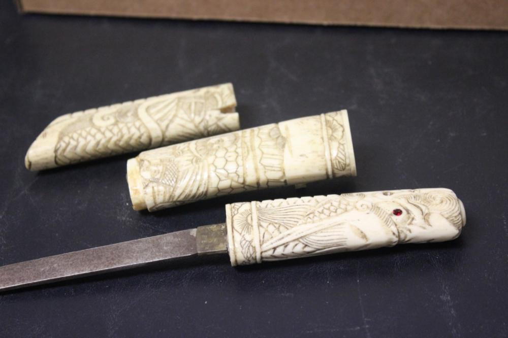 An Antique Vintage Japanese Well Carved Bone Knife