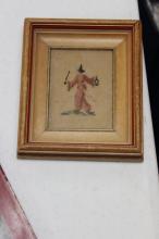 A Framed Oriental Motive Needlework
