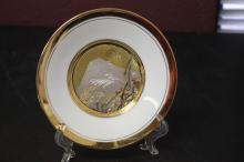 A Chokin Art 24Kt Gold Plated Plate