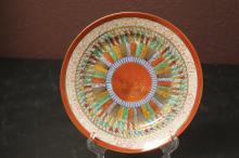 A Kutani Thousand Face Motif Plate