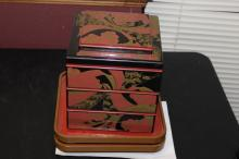 A Japanese Lacquer Lunch Boxes and Eating Trays
