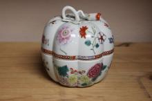 An Andrea Pumpkin Lidded Porcelain Box