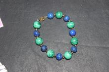 A 14Kt Gold Lapis and Malachite Bracelet
