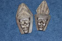 Set of 2 African Miniature Wood Wall Hanger