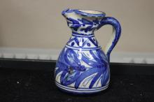 A Toledo (?) Blue and White Pottery Ewer