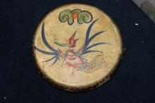 An Antique Chinese Leather Drum - Wood and Leather